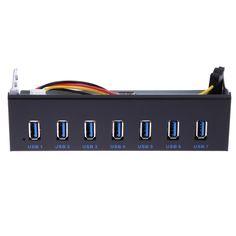 """7 Ports multi USB 3.0 Hub splitter 5Gbps super speed Internal Front Panel Combo Bracket Adapter for 5.25"""" CD-ROM Driver Bay  #Affiliate"""