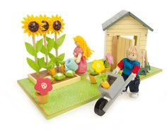 Buy our Dolls Garden Grows Playset (Le Toy Van by Le Toy Van available now at Mulberry Bush. Wooden Dollhouse, Wooden Dolls, Doll Furniture, Dollhouse Furniture, Discount Toys, Unique Toys, Buy Toys, Dollhouse Accessories, Outdoor Toys