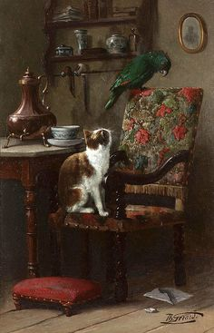 Wary companions by Theodore Gerard (Belgian 1829-1895)