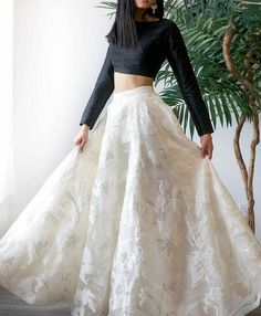 indian designer wear Party Wear White And Black Jacquard Top With Lehenga - Gown Party Wear, Party Wear Indian Dresses, Designer Party Wear Dresses, Indian Gowns Dresses, Party Wear Lehenga, Indian Fashion Dresses, Dress Indian Style, Indian Wedding Outfits, Indian Designer Outfits