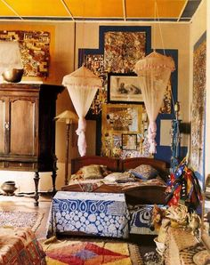 opulent, eclectic bedroom love this! Bohemian Interior, Bohemian Decor, Bohemian Gypsy, Boho Chic, Gypsy Decor, House Design Photos, Cool House Designs, Loft Spaces, Living Spaces