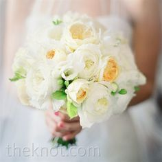soft bunch of white peonies and pale-yellow English garden roses. (but with less green plus pink & yellow with a touch of blue)