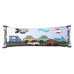 Beep! Beep! Better get out of the way because this Crosstown Traffic Body Pillow is coming to your house today! Design was originally created w/ young boys bedrooms in mind, my 30 year old son told me he wants one! Image features colorful, retro-ish driverless cars heading down the highway; above, the 'Good Day' Blimp & 'Air Lambda' bi-plane troll along in the clear blue sky. Personalize w/ child's name. #boysbedroomdecor #boysbodypillow #carspillow #personalizedbodypillow #kidsbedroomdecor