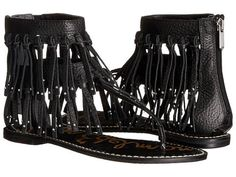 Sam Edelman Griffen - Give your festival style an upgrade in the Sam Edelman Griffen! The back zip closure offers an easy on and off. #FREESHIPPING on all orders at JColeShoes.com! #SamEdelman #SamEdelmanGriffen #SamEdelmanShoes #Sandal #SamEdelmanSandal #fringe #FringeSandal #Black #Griffen