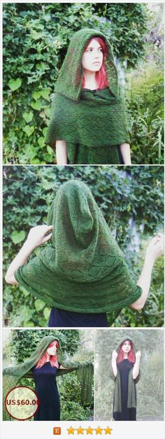 The capelet with very large hood is gentle, warm and underweight. Weight is 165 g. Green leaves on lace scarf, natural tone, cosy kidmohair yarn help you feel feminine and charming. The oversize hood - 50*50 cm - will elegant drape and frame your face. #hoodedscarf #greenleaves #elves #FairyKnitRU https://www.etsy.com/FairyKnitRU/listing/545163846/hooded-scarf-capelet-green-leaves-lace?ref=shop_home_active_7