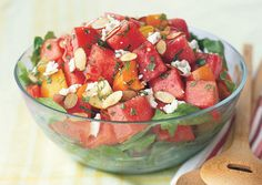 Tomato-Watermelon Salad with Feta and Toasted Almonds - Bon Appétit