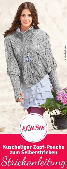 Knitting Patterns Pullover The ideal partner for cool days: The pigtail poncho in elegant gray. Here you will find the knitting instructions … Crochet Pullover Pattern, Poncho Knitting Patterns, Knit Patterns, Knit Crochet, Big Knit Blanket, Big Knits, String Bag, Crochet For Beginners, Knit Fashion
