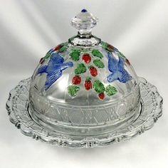 "Indiana Dunkirk Beatty Glass Butter Dish ""Bird and Strawberry"""