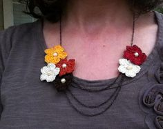 Fall Flowers Crochet Necklace | AllFreeJewelryMaking.com