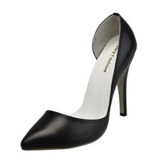 GILI / A trendy black asymmetric pointed toe thin heels high heels pumps designer comfortable women's Dress shoes.