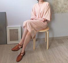 grapefruit wrap dress with kimono sleeves