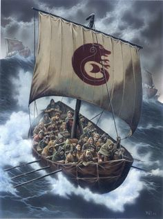 Pictish warriors on a raid at sea by dusk...