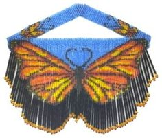 Butterfly Bugle Weave Fringe Necklace : Beading Patterns and kits by Dragon!, The art of beading. Beaded Earrings Patterns, Seed Bead Patterns, Peyote Patterns, Beading Patterns, Beading Needles, Loom Beading, Fringe Necklace, Beaded Necklace, Native Beadwork