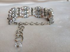 3 Strand Pearl and Chain Bracelet by shadowonthesun9 on Etsy