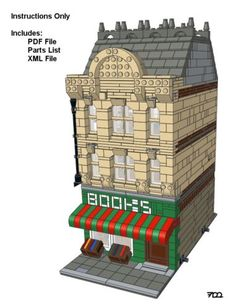 Lego-Custom-Modular-Building-The-Bookstore-Instructions-Only