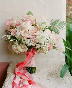Blush pink woodland bouquet + coral ribbon by Flowerwild | Jose Villa