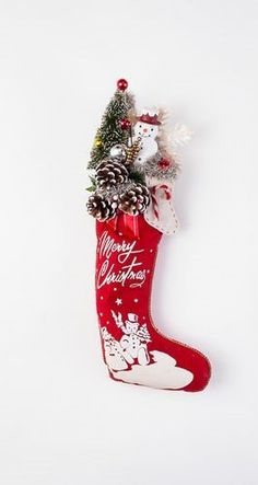 Vintage Style Christmas Stocking, Felt with Snowman and Bottle Brush Tree, 22""