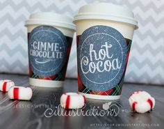 Red Plaid Hot Cocoa Bar Printable Coffee Sleeve- Hot Cup Wrapper- Printable Party Favors - Hot Chocolate Bar Party Printables