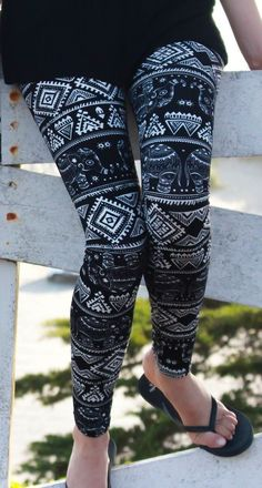 With bejeweled elephants and hypnotic bands of geometric patterns, these boho leggings are as striking as the curves they cling to. With dangly tribal earrings and a flowy top, they can be the frontrunner for a snazzy get-up at the next music festival. They're also sure to create a mesmerizing effect as fellow yogis watch you move gracefully through each awe-inspiring asana.