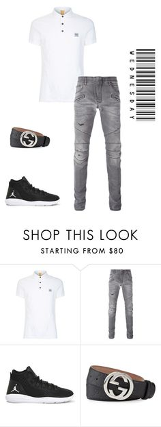 """""""Holiday R Wednesday 1°"""" by zsugabubus ❤ liked on Polyvore featuring BOSS Orange, Pierre Balmain, NIKE, Gucci, men's fashion and menswear"""