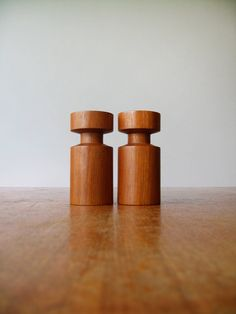 Pair Vintage Danish Modern Teak Wood Candle Holders by luola