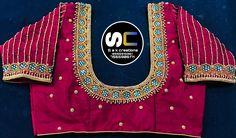 Hand Work Blouse Design, Simple Blouse Designs, Sari Blouse Designs, Blouse Styles, Simple Designs, Traditional Blouse Designs, Maggam Work Designs, Maggam Works, Hand Designs