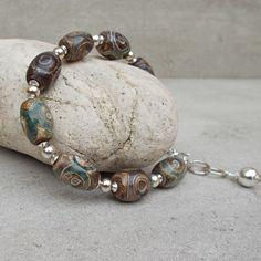 Tibetian Old Mystic Agate & Sterling Silver Bracelet (126) £25.00