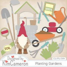 Planting Gardens - Gnome - Layered PSD Templates with PNG by Kim Cameron for Digital Scrapbooking #CUDigitals