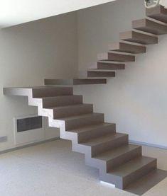 Cómo utilizar el hormigón visto en el interior de tu casa - El Cómo de las Cosas Front Stairs, Metal Stairs, Concrete Stairs, House Stairs, Indian Home Design, House Arch Design, Staircase Design, Interior Stairs, Interior Design Living Room