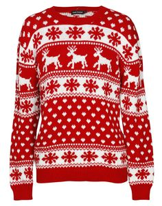 Reindeer and Fairisle Print Christmas Jumper in Red