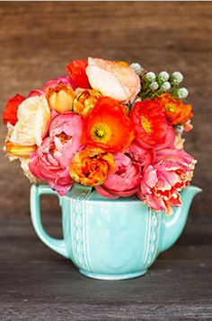 tea, petally flower, and color. gorgeous. esp. for a shower or garden party :)