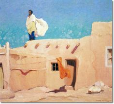 "Victor Higgins, ""Summer Day, Taos Pueblo,"" 1916."