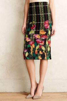 Skirts (or pants) with special, eye catching detail on the lower half Blossom Checked Pencil Skirt