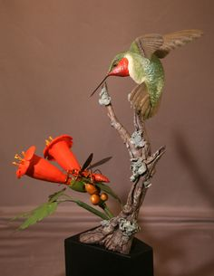 Ruby Throated Hummingbird: Ruby Throated Hummingbird Wood Carving