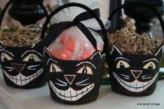 Spooky black cat treat buckets made from peat pots