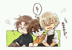 """Subaru Okiya (alias """"Shu Akai"""") X Conan X Toru Amuro (alias Bourbon) Detective, Manga, Kaito Kuroba, Gosho Aoyama, Detektif Conan, Kudo Shinichi, Magic Kaito, Case Closed, Anime"""