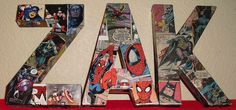DIY:  Comic book letters wall hangers.