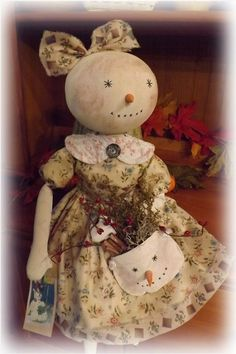 Folk Art Primitive Handmade Winter Snow Gal Snowman Annie Doll Civil War Fabrics #FolkArtPrimitive #SweetwaterCreekPrimitives