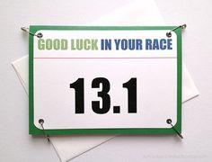 13.1 Half Marathon Good Luck Race Bib Running card by aSteadyPaceStudio