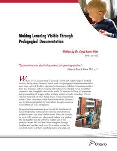 Making Learning Visible Through Pedagogical Documentation