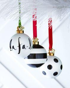 Kate Spade Black & White Christmas Ornaments on shopstyle.com