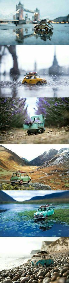 Traveling Cars Adventures by Kim Leuenberger fotos de carros pequeños Miniature Photography, Toys Photography, Creative Photography, Photography Ideas, Travel Photography, Object Photography, Tilt Shift Photography, Photography Degree, Micro Photography