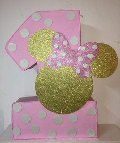 Minnie mouse numero piñata. rosa y oro minnie mouse por aldimyshop
