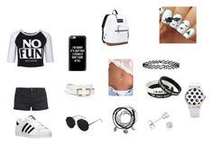 """""""Black and White"""" by paradise-queen on Polyvore featuring adidas, Killstar, Casetify, TWINTIP, Amanda Rose Collection, Accessorize and JanSport"""