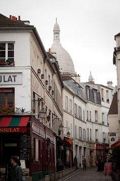 Montmartre street Paris.  Stayed in Paris with Parisians, Beatrice and Jean Claude, friends I met in Luxembourg.