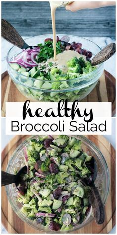 Healthy Vegan Broccoli Salad with a sweet dairy free tahini dressing is the perfect summer side dish for backyard parties and BBQs. It's a lightened up version with no mayo and totally oil-free. Easy to make and just a few ingredients. Broccoli Grape Salad, Healthy Broccoli Salad, Healthy Salad Recipes, Whole Food Recipes, Vegetarian Recipes, Cooking Recipes, Healthy Mayo, Vegetarian Diets, Recipes Dinner