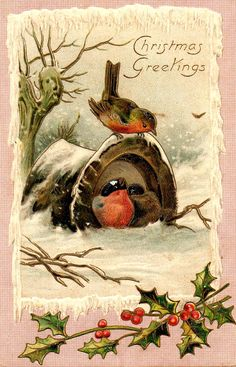 Little Red Robins at Christmas Christmas Bird, Christmas Ornament Crafts, Christmas Scenes, Victorian Christmas, Retro Christmas, Christmas Graphics, Christmas Clipart, Christmas Printables, Christmas Greetings