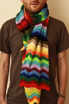 Rainbow Ripple Stitch Crochet Scarf by rosiemrogers, via Flickr