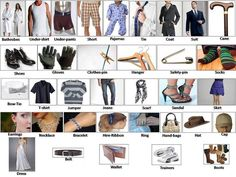 Learning clothes for men women babies English lesson