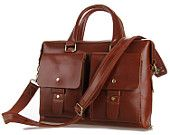 Men's 15 inch Business Genuine Leather Laptop Briefcase Satchel CrossBody Messenger Handbag Brwon #7001X
